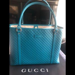 New Teal Gucci Microguccissima Shopper Tote